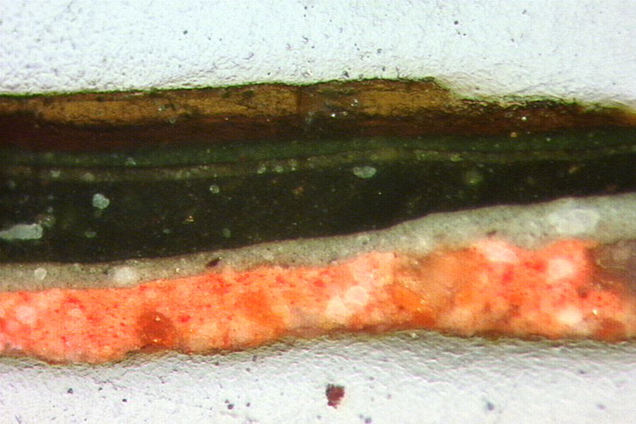 Cross section of the paint and varnish layers of the 17th Century painting on the ceiling